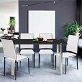 Aingoo Rectángulo de Vidrio Templado Mesa de Vidrio superior y Patas De Acero Inoxidable (120 ~ 140) x 70x75.5 CM Comedor Muebles