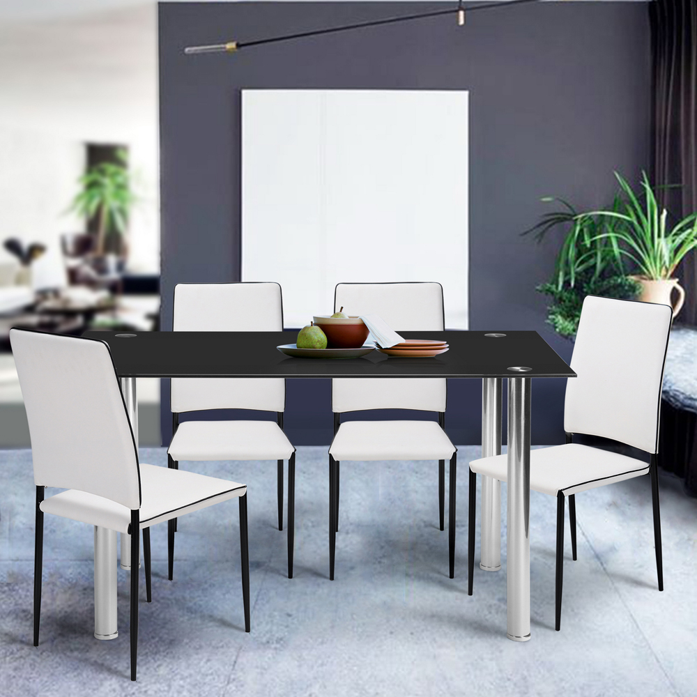 Aingoo Rectangle Tempered Glass Dinner Table-Glass top & Stainless Steel Legs (120~140) x 70 x 75.5 CM Dining Room Furniture