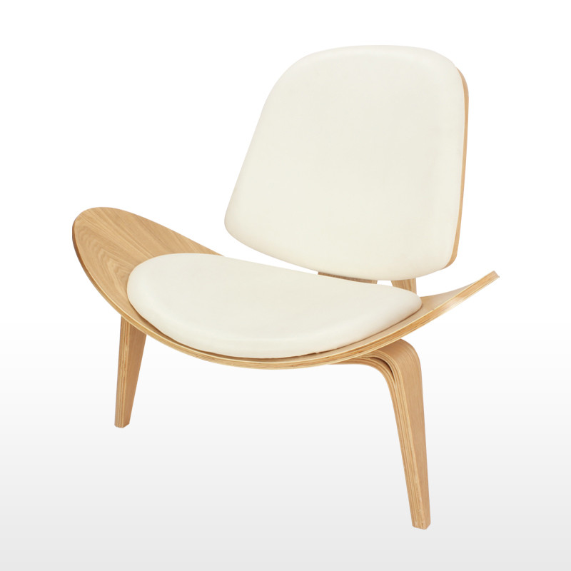 Hans Wegner Style Three Legged Shell Chair Ash Plywood White Faux Leather  Living Room Furniture Modern Lounge Shell Chair In Living Room Chairs From  ...