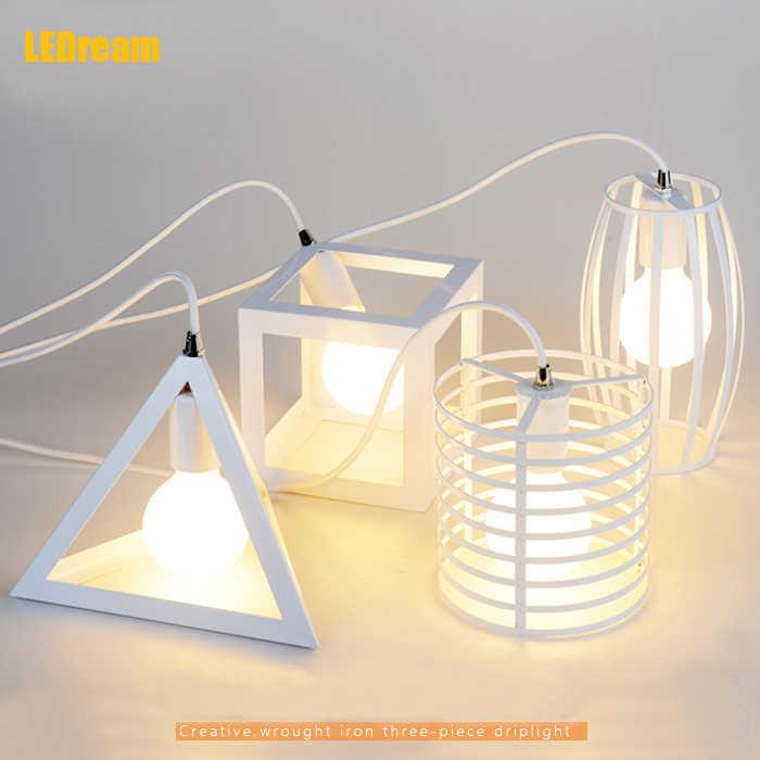 Винтажный Ретро подвесной светильник s светодиодный светильник металлический куб клетка абажур светильник ing подвесной светильник
