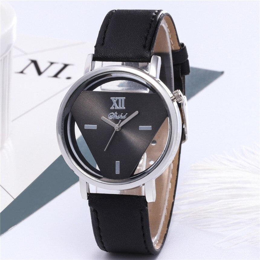 Simplicity Women Watch Triangle Hollow Watch Women Leather Bracelet Watch Women Luxury Gift For Women Zegarek Damski D30