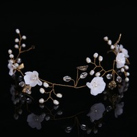 2017 Brand New Exquisite Handmade Gold Crystals Freshwater Pearls Flower Leaf Wedding Hair Vine Bridal Headband