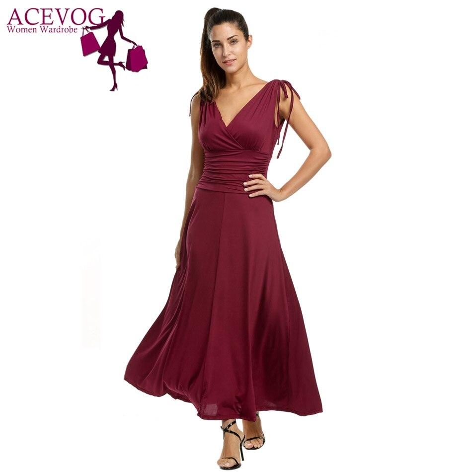 ACEVOG Femmes Parti Robe Sexy Robe Feminino 2017 D'été Vintage Taille Haute élégant Longue Maxi Robes Pour Robes De Marque Dame