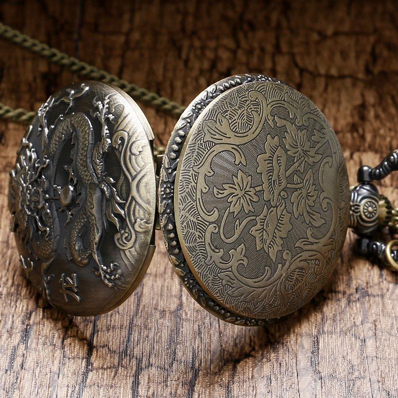 3D Kinesisk Dragon Bronze Quartz Pocket Watch Halskæde vedhæng ur - Lommeur - Foto 4