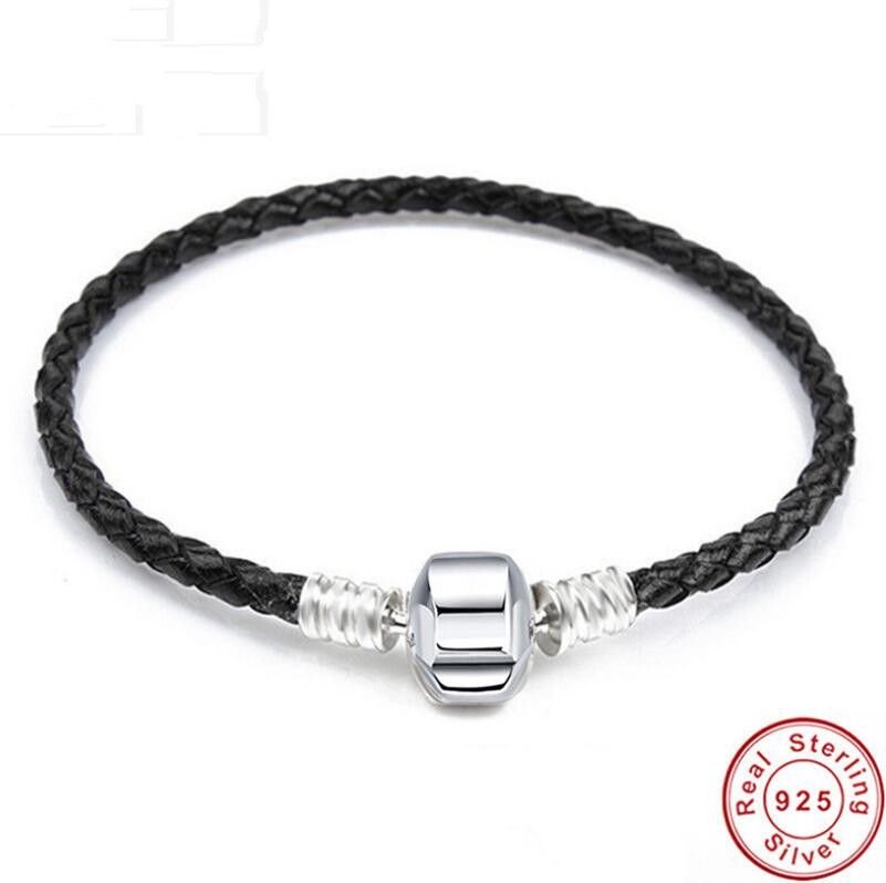 925 Sterling Silver Genuine Leather Barrel Clasp Snake Chain Pan Bracelet Bangle Fit Women Diy Bead Charm Jewelry