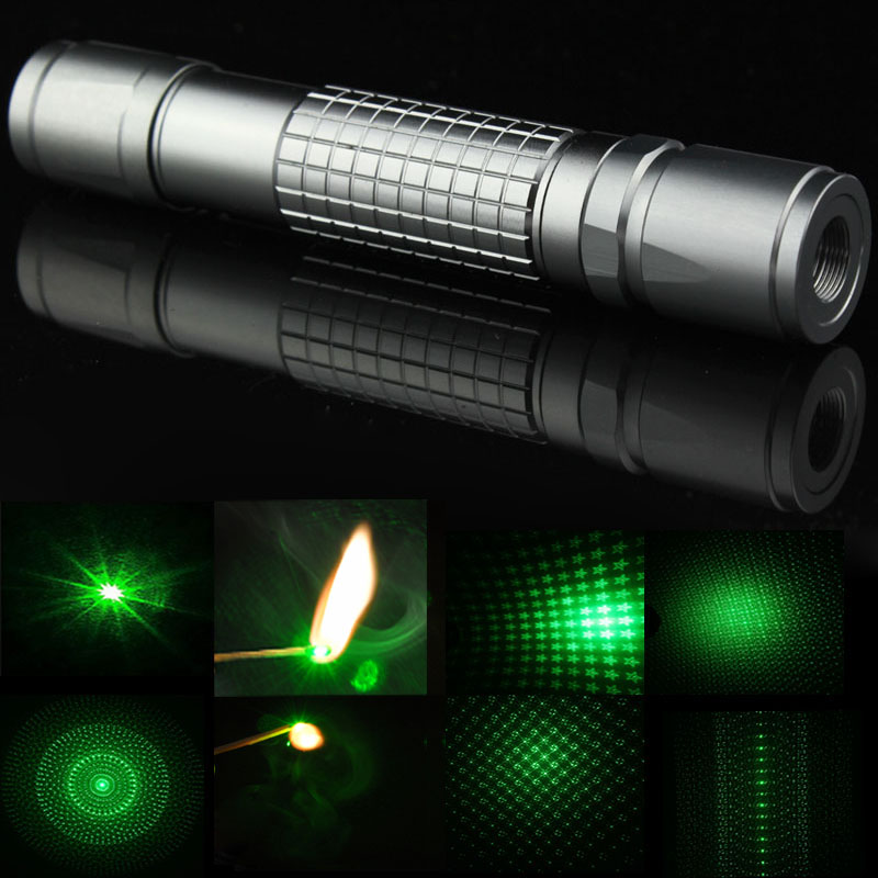 Adjustable Focusable Burning 5 in 1 Kaleidoscope Starry Powerful Green Laser Pointer Flashlight With Battery & Charger