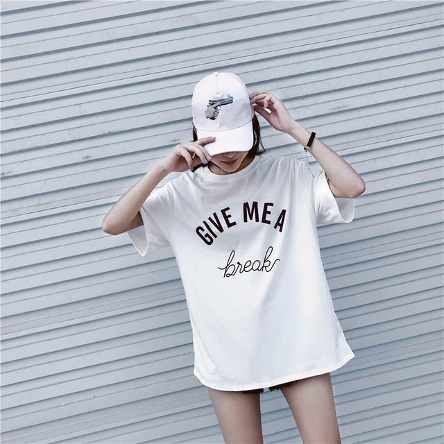 2018 New Arrival Letter GIVE MEA Printed Cotton Casual T-Shirt Women Street Fashion Style Korea Ulzzang Loose O-Neck Tee Tops 3