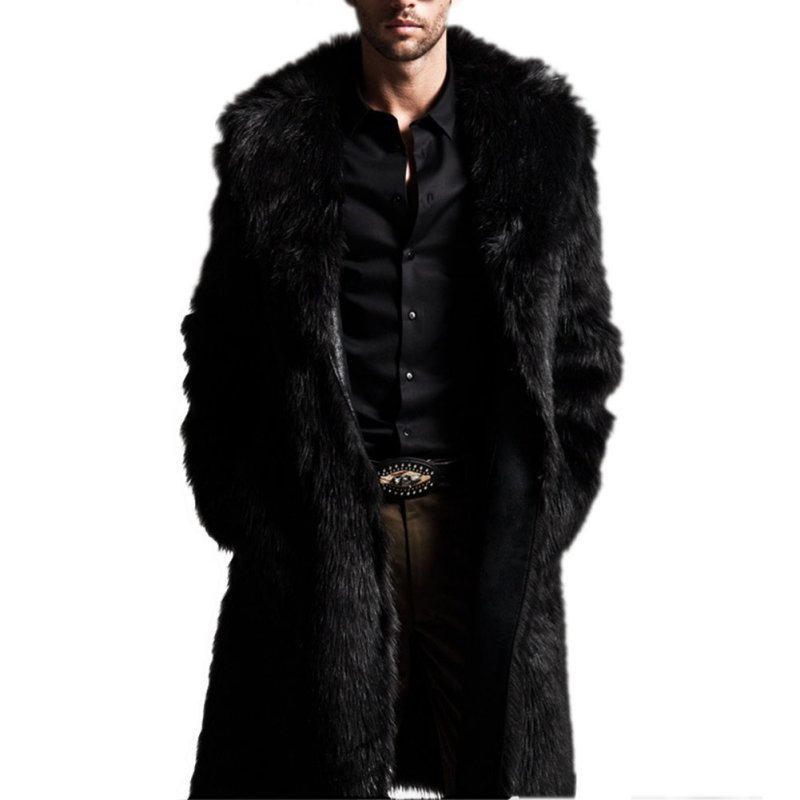 Fashion Winter Men Coats Rabbit Faux Fur Long Jackets Men Coat Long Sleeve Turn-Down Collar Coat Plus Size Men Outwear lLongCoat