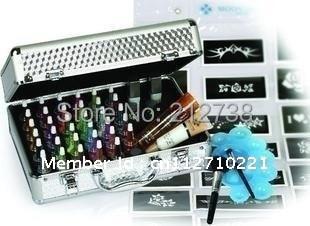 free shipping 38 colors Professional Tattoo Temporary waterproof glitter Body Art Deluxe kit /glitter tattoo stencils