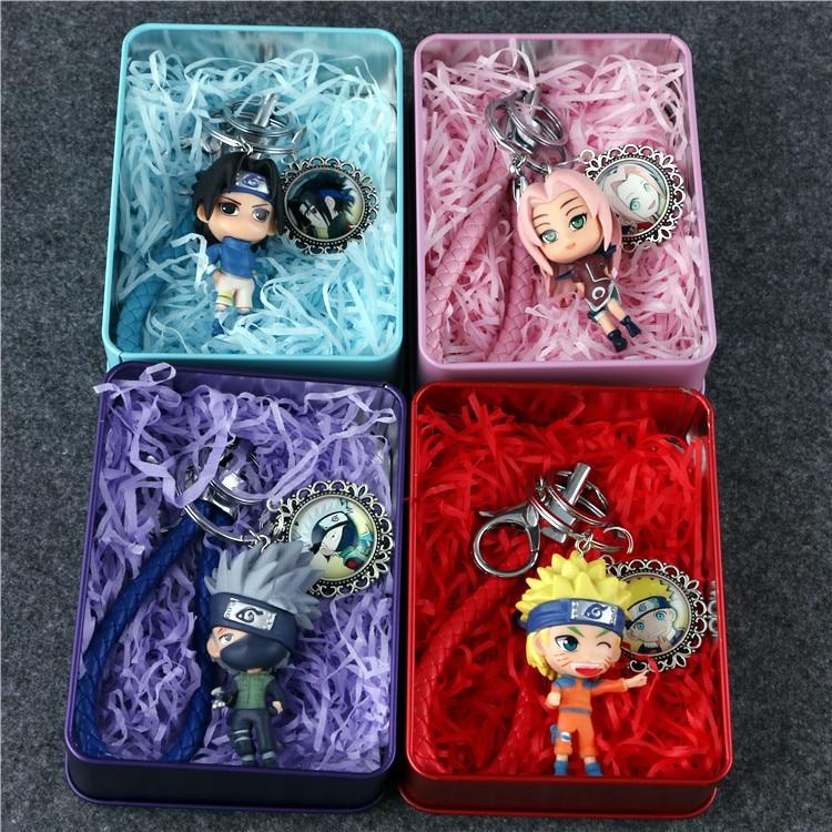 Anime Naruto Kakashi Sakura Sasuke Keychain Figure Collection Model Toys Key Chain Toys with Metal Box