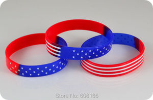 Image 1 - 50pcs  USA American Flag Silicone Bracelets Wristband Stars and Stripes Fashion Jewelry