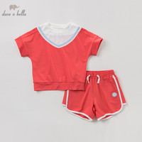 DBK9759 Dave bella summer baby girls clothing sets children lovely solid suits toddler infant clothes girls outfit