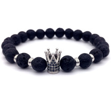 Trendy Lava Stone Pave CZ Imperial Crown And Helmet Bracelet