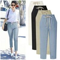 Harem Pants Women Trousers Black Casual Plus Size Ankle Length Drawstring Elastic Waist Skinny Pants Woman