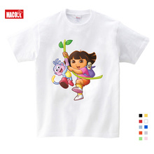 2019 Girls/Boys/Babys/Kids pure cotton summer clothes T shirts funny top t shirts Kids White comfort Toddler Dora Explorer Tees цена