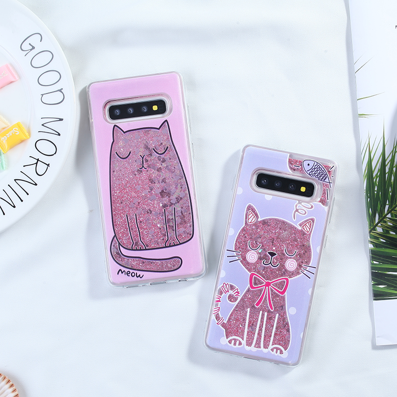 Liquid Glitter Phone Case For Samsung Galaxy S10 Cases Cover For Samsung Galaxy A7 A8 Plus 2018 A3 A5 2017 S8 S9 For iPhone XR in Fitted Cases from Cellphones Telecommunications