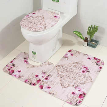 Zeegle Floral 3Pcs Bathroom Mat Set Anti-slip Bathroom Floor Rugs Cushion Toilet Seat Cover Toilet Bath Mat Bathroom Carpet Set
