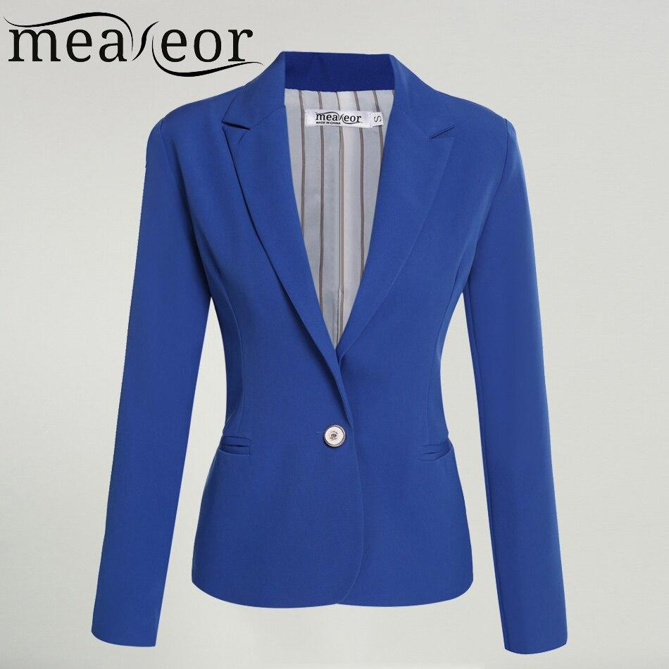 Meaneor Women Black Blazer One Button Casual Office Lady Blazer Coat Jacket Rose Red Blue Black