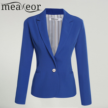 Meaneor Women Black Blazer One Button Casual Office Lady Blazer Coat Jacket Rose Red, Blue, Black Plus Size S, M, L, XL