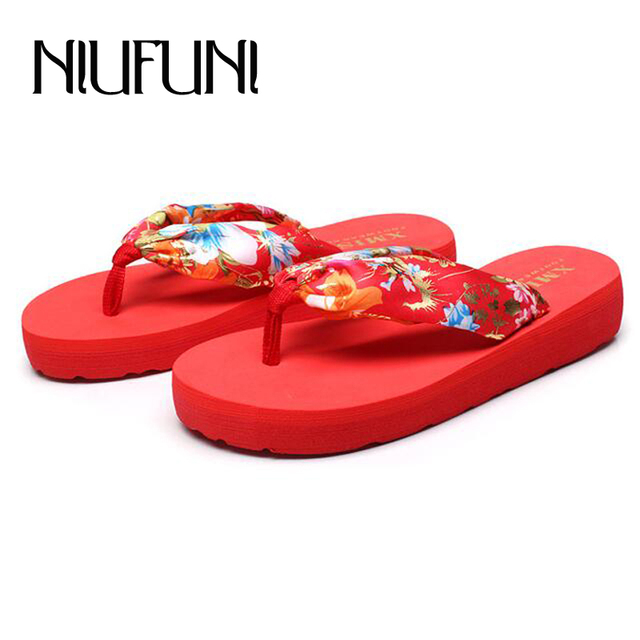 Flower Print Casual Women s Slippers 2018 New Beach Platform Shoes Woman  Summer Cloth Plus Size 35 0d923d11b589