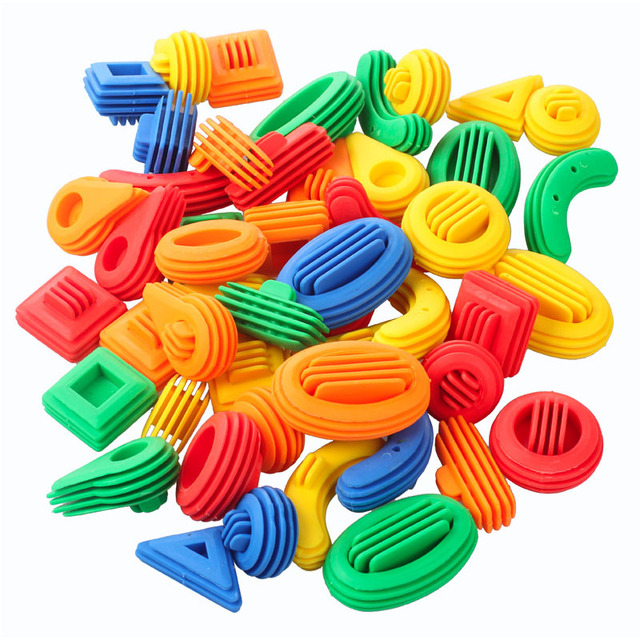 50pcs Kids Funny Plastic Building Blocks Educational Toys For Children 3D Construction Toy Baby DIY Bullet