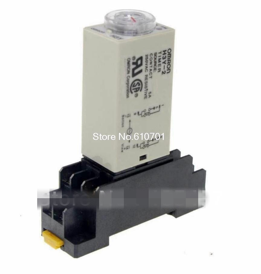 1pcs 12VDC/24VDC/24VAC/110VAC/220VAC H3Y-2 Power On Time Delay Relay Timer 1.0-60Min DPDT 8Pins&Socket 5A
