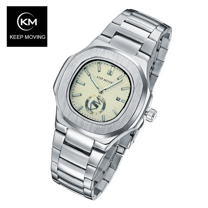 10pcs/lot KEEP MOVING brand watch day calendar Stainless Steel Sport Watch for Men Fashion Quartz Wristwatches Relogio Masculino