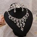 Новый ювелирных изделий люкс свадебное платье из трех частей короны ожерелье серьги свадебные аксессуары бренда индийские ювелирные изделия, свадебные платья