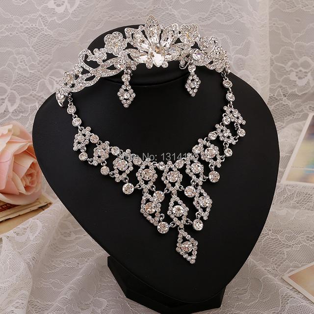 New jóias nupcial do vestido de casamento de três-pedaço da coroa colar brincos acessórios do casamento marca de jóias indiano vestido de noiva
