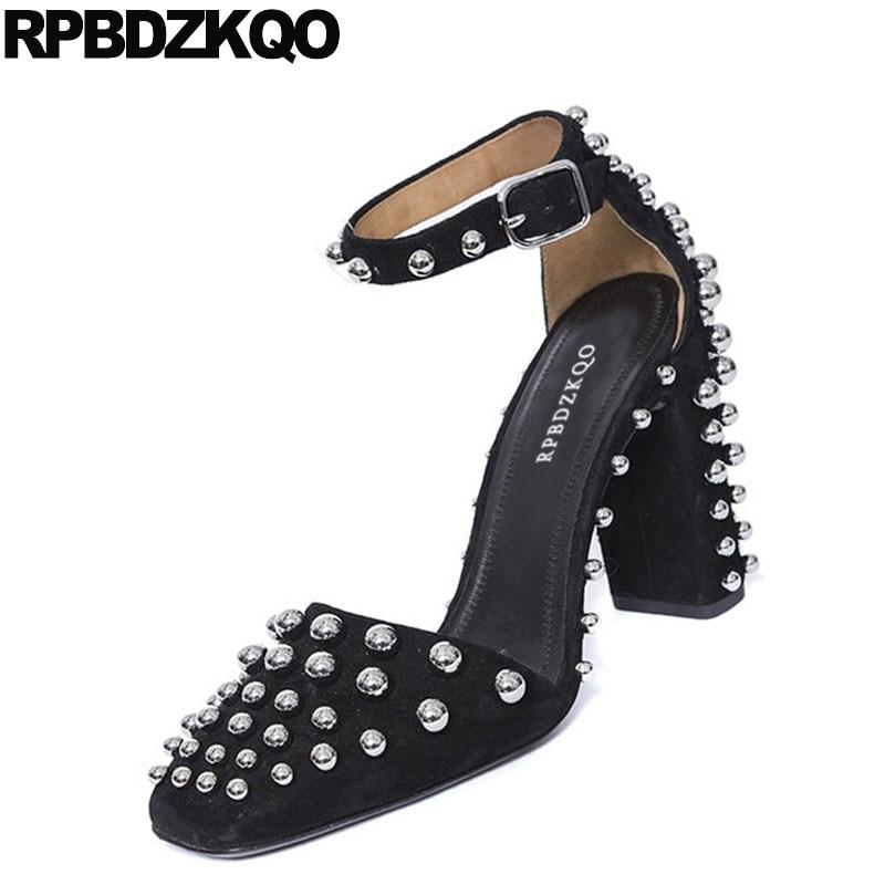 Cuir Bout Daim Main Sandales À Véritable Cheville Chaussures La Boucles De Carré Peau Mouton Bloc Talons Pompes Sangle Noir En Femmes Rivet Hauts kXiPuOZ