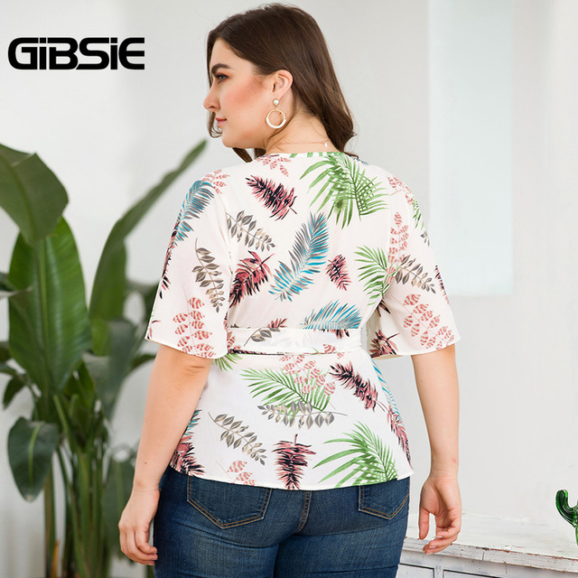 GIBSIE Plus Size Tropical Print V-Neck Belted Wrap Top Blouse Women 2019 Summer Casual Short Sleeve Ladies Blouses Tops 2