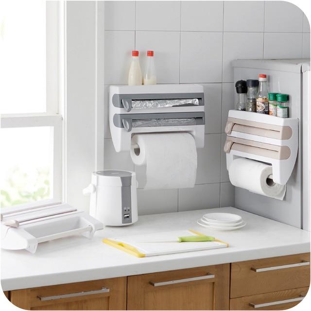 plastic wrap tissue holder cutter device storage rack dispenser and spice home organizer kitchen paper