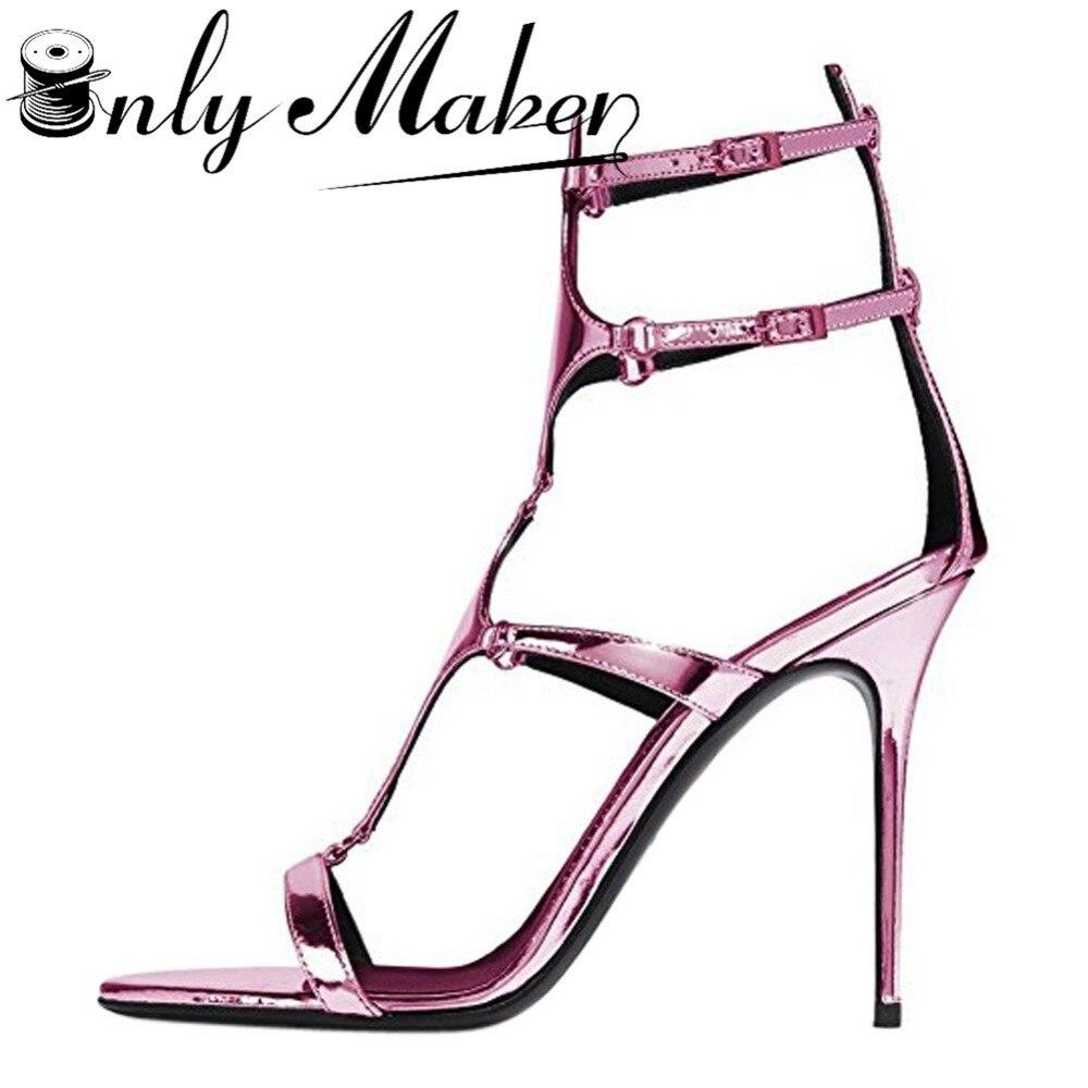 Womens sandals size 13 - Onlymaker Women S Sandals Heels Shoes 11cm 13cm Thin High Heel Gladiator Summer Dress Sandals Glitter Bling Shoes Plus Size 13