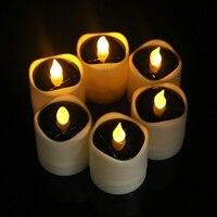 שמש מופעל LED נרות אור הבהוב צהוב תה מנורת פסטיבל חתונה תפאורה רומנטית L15 באתר