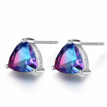 1.6ct Mystic Rainbow Topaz Stud Earrings For Women 925 Sterling Silver Jewelry Concave Triangle Earrings Brithday Gifts vintage 925 silver topaz drop earrings for party 5 mm 7 mm natural topaz silver earrings steriling silver topaz jewelry