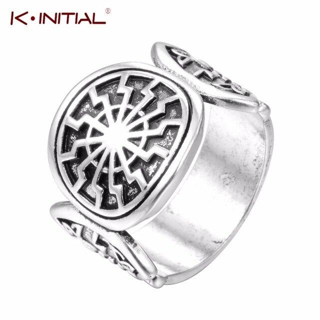 b03923f7 Slavic Black Sun Signet Rings Amulet Nordic Runes Ring For Men Custom  Talisman Ring Wedding Nordic Bague Jewelry Kinitial Brand