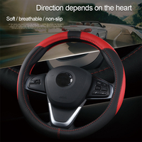 pu leather Universal 37 38cm Car Steering Wheel Cover 5 Colors PU Leather Anti-slip Auto Steering-wheel Covers Sports Car Styling Interior (4)