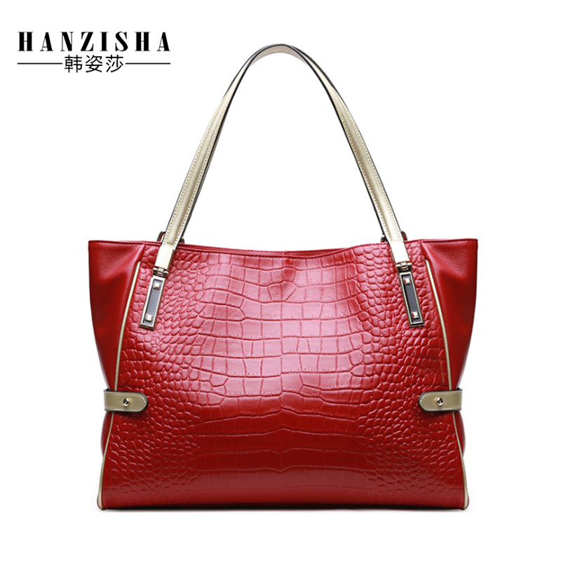 2018 New Fashion Women Handbag Genuine Leather Alligator Pattern Women Shoulder Bag Luxury Design Natural Leather Women Tote Bag недорго, оригинальная цена