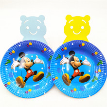 10pcs Mickey Mouse Party Supplies Paper Plates Disposable Tableware Birthday Partei Favors platos Disposable Plate dishes vaisse