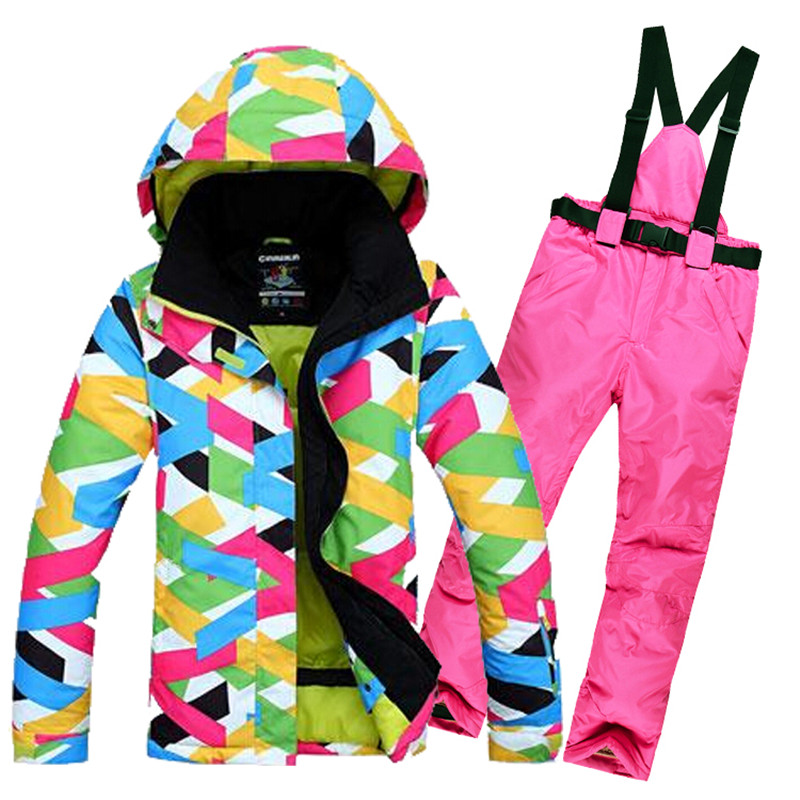 Good Quality Women's Ski Jacket + Pant Ski Suit For Women Outdoor Female Winter Camping Snowboarding Suit Jacket And Pant le suit women s water lilies woven pant suit with scarf