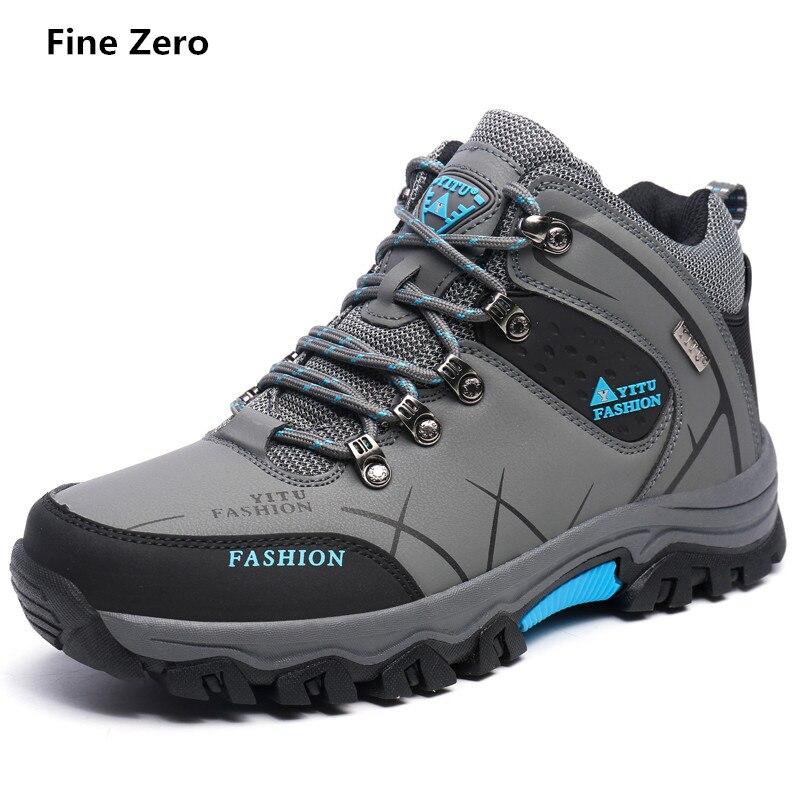 Fine Zero Autumn Winter Warm Hiking Shoes Men font b Leather b font Trekking Hiking font