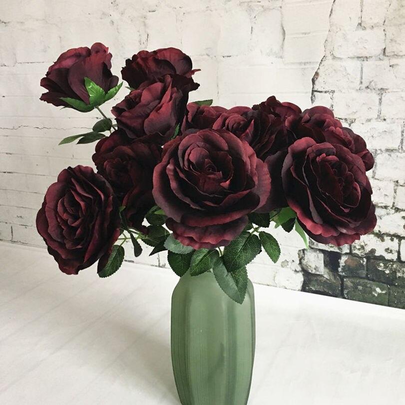 2 têtes/branche grande Rose française soie fleur artificielle flores artificiales maison mariage décoration fleur artificielle rose