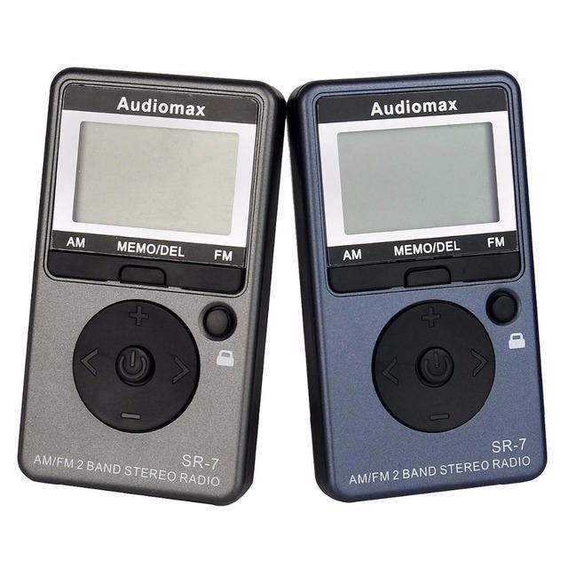 2 unids Bolsillo F/AM 2 Bandas de Tamaño Mini Receptor de Radio Portátil Recargable Batería + Auricular Radio FM Y4116