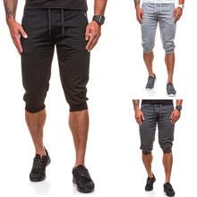 Summer Men Shorts Solid Color Sports Casual Capri Pants LXX9