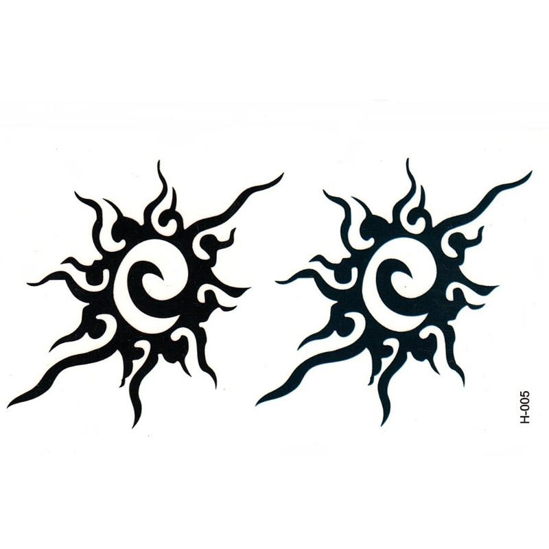 10pcs Black Sun Totem Waterproof Temporary Tattoos Sticker Fake Tattoo Stickers For Men Women Sexy Products Henna Tatoo Makeup