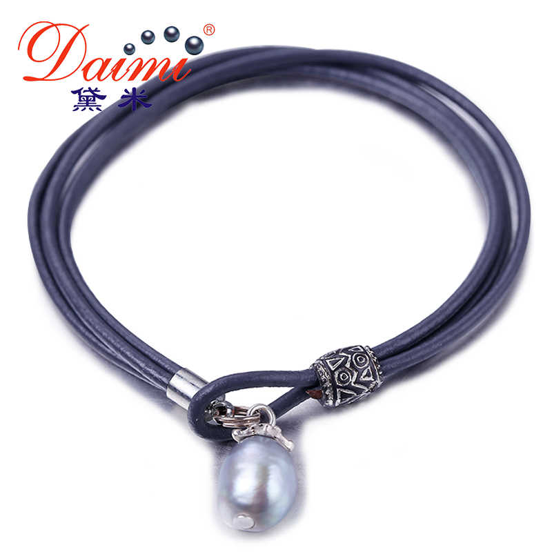DMBFP124 9-10mm Natural Baroque Pearl Bracelet Freshwater Pearl Leather Bracelet Wholesale Product