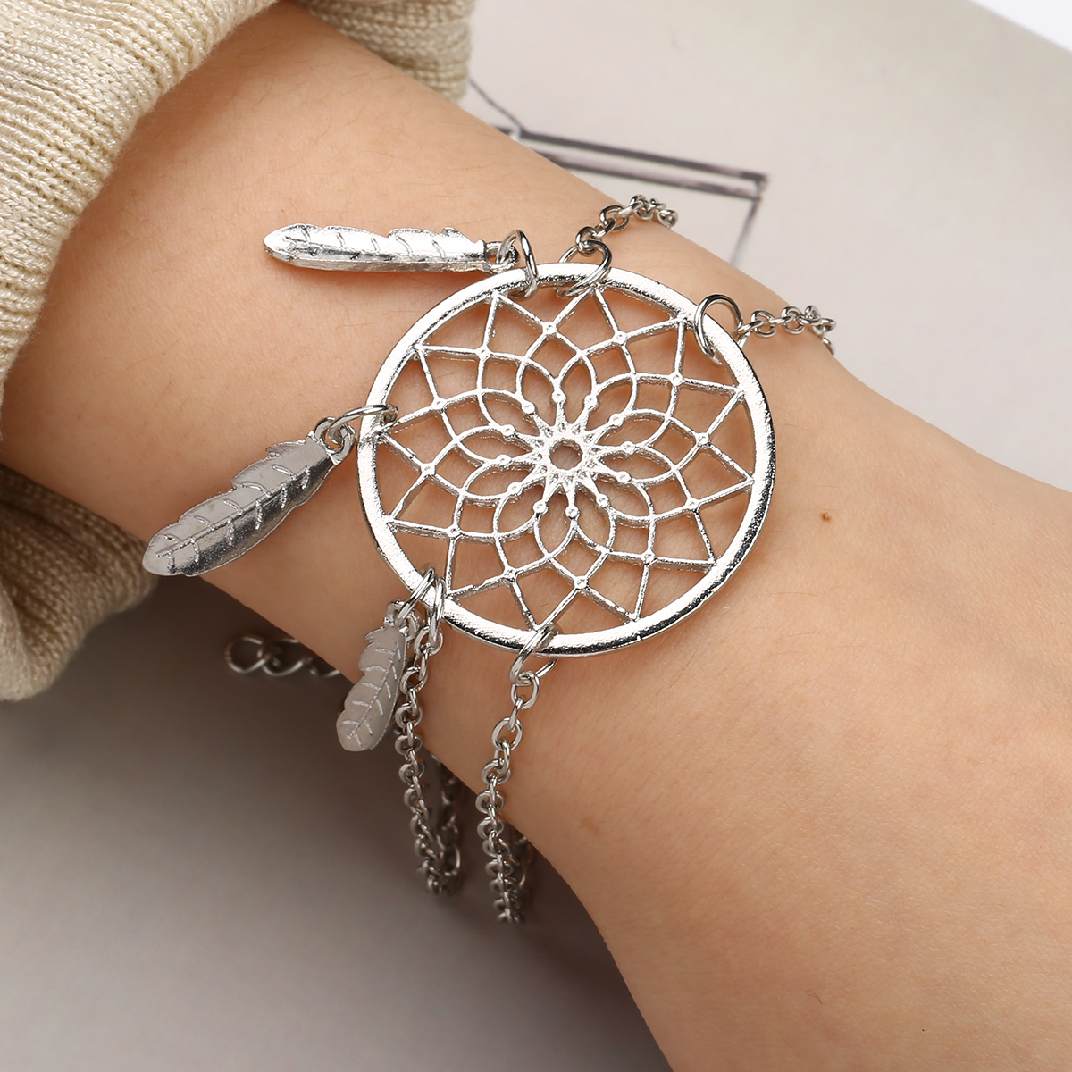 Sainio Silver Color Dreamcatcher Charm Bracelets For Women Charm Bracelets & Bangles Dream Catcher Jewelry Gift for Girl
