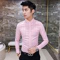 2016 Mens Strip Shirts Pink Autumn Dresses Blue Fashion Slim Fit buckle stripe long-sleeve shirt Trend Casual Social shirts Men