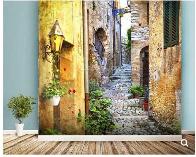 Custom foto behang mediterrane oude stad straat fresco voor