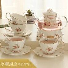 Новое поступление, набор кофейных чашек для послеобеденного чая, креативный термостойкий чайный сервиз из костяного фарфора, стеклянный цветочный чайный сервиз с нагревательной основой